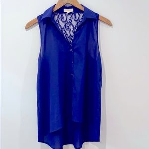 Asymmetric blue top with lace